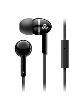 GoGear Sparklers, Noise isolating earphones with silver ring with mic, Black
