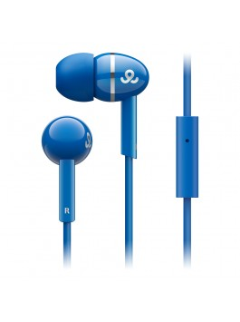 GoGear Sparklers, Noise isolating earphones with silver ring with mic, Blue