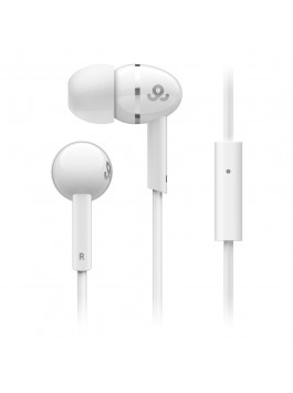 GoGear Sparklers, Noise isolating earphones with silver ring with mic, White